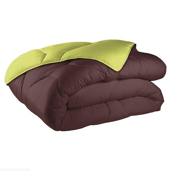 Couette coton réversible 220x240 cm 570 gr m² chocolat anis
