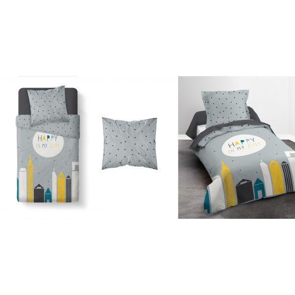 Parure-housse-de-couette-coton-Happy-City-Today-140x200-cm miniature 3