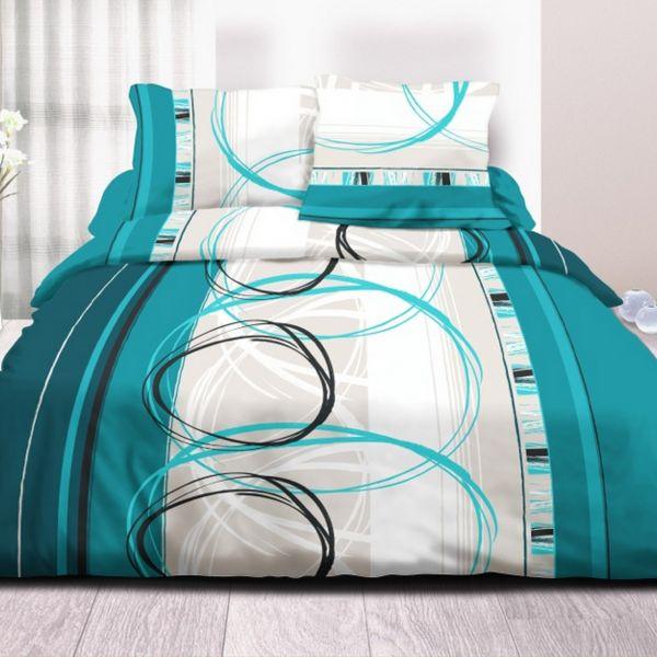 Parure de couette 100% Coton 57 fils 220x240 cm Roue Libre Turquoise
