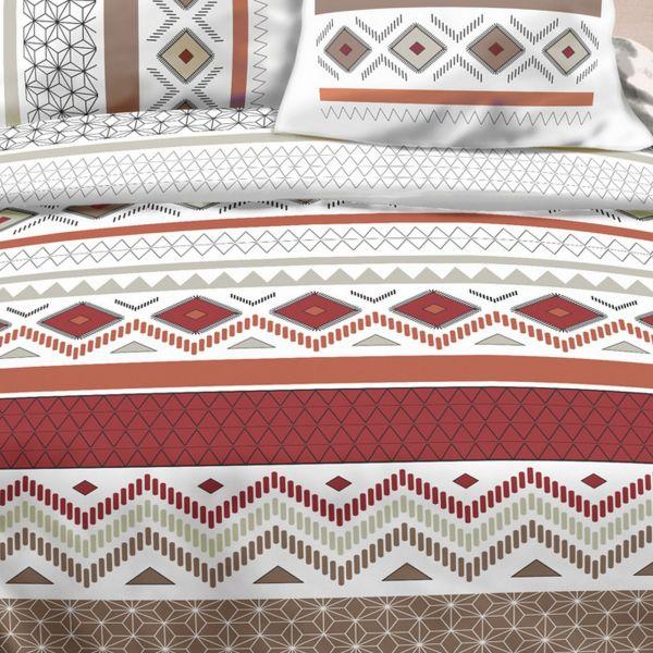 Housse-de-couette-Coton-Maya-Rouge-et-taie-d-039-oreiller miniature 2