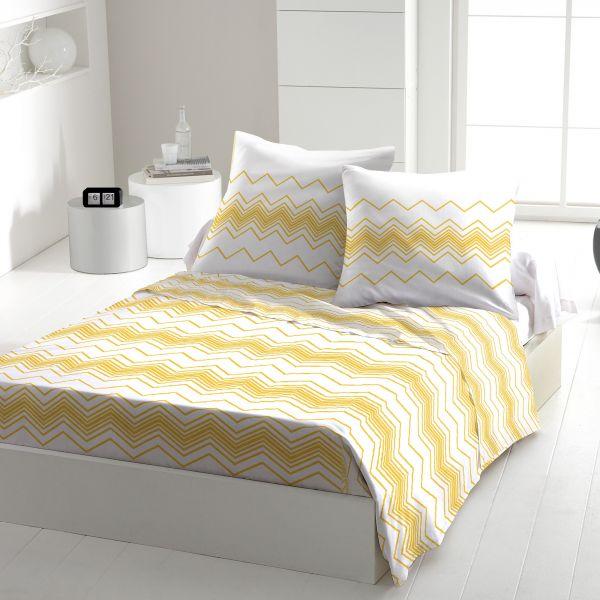 Parure de drap 100% Coton 57 fils West Wide yellow 240x300